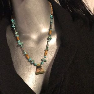 Jewelry - real turquoise,silver,wood&glass beads stone pyri